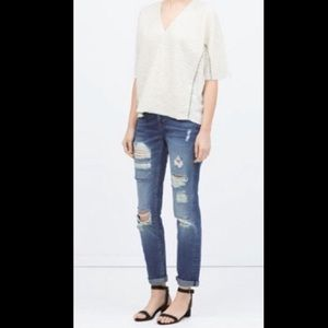 Zara Basic Ripped Distressed Boyfriend Jean